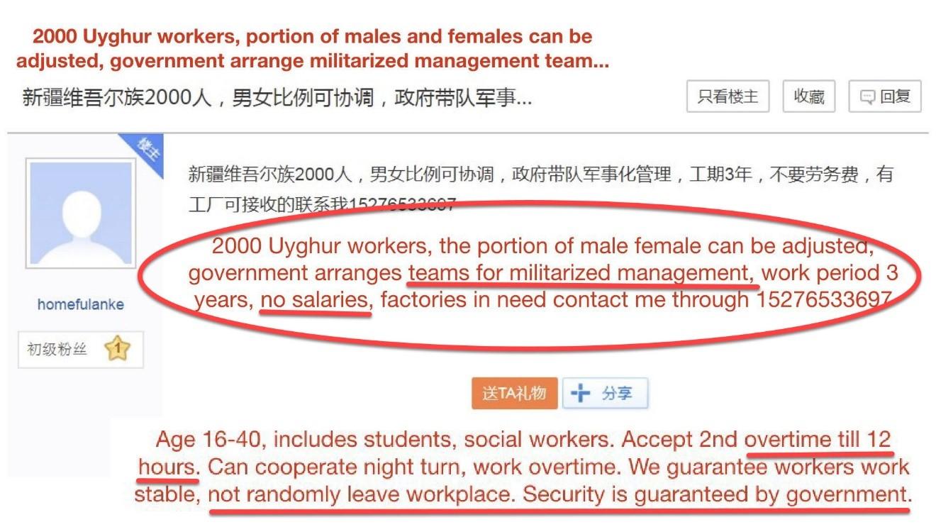 Uyghurs slave labor ad